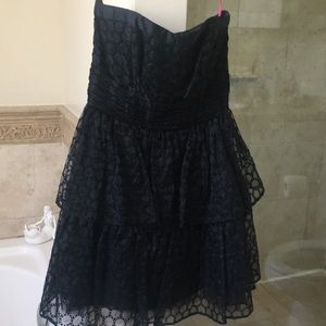 Vintage Betsey Johnson black lace tier dress